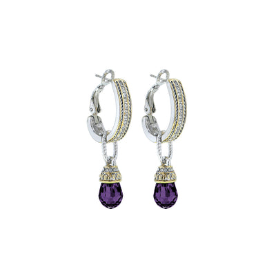 Briolette CZ Hoop / Amethyst Drop Earrings