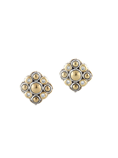 Oval Link Collection Hammered Post Clip Earrings