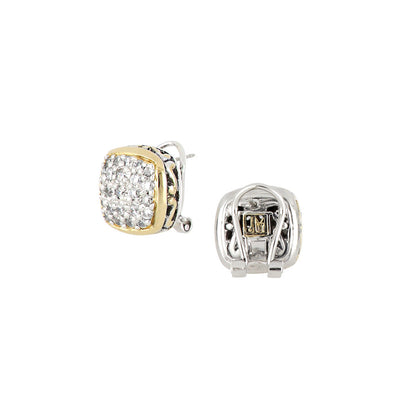 Anvil Square Pavé Post Clip Earrings back