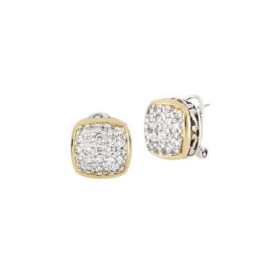 Anvil Square Pavé Post Clip Earrings