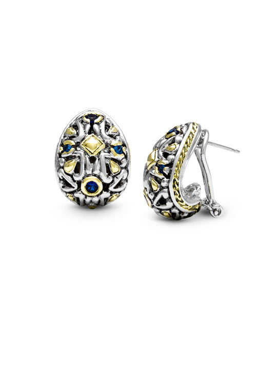 O-Link Collection Filgree CZ Post with Clip Earrings
