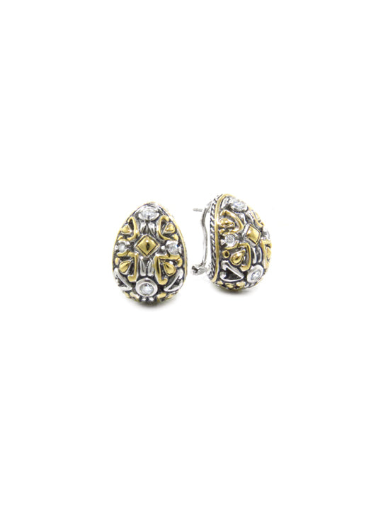 O-Link Collection Filigree CZ Post with Clip Earrings