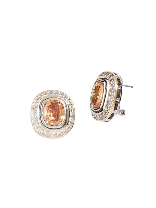 Nouveau Pavé Accented Oval Post with Clip Earrings