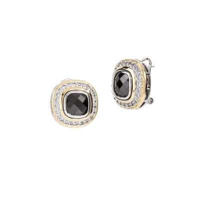 Nouveau Pavé Accented Black CZ Square Post with Clip Earrings