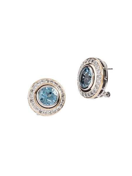 Nouveau Pavé Accented Round Post with Clip Earrings