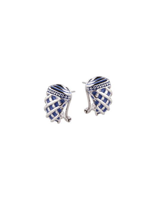 Lattice Collection - Lapis Edition - Omega Clip Post Earrings
