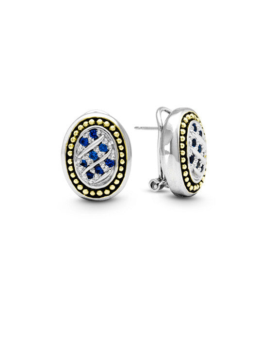 Ocean Images Indigo Collection Oval Pave Post with Clip Earrings
