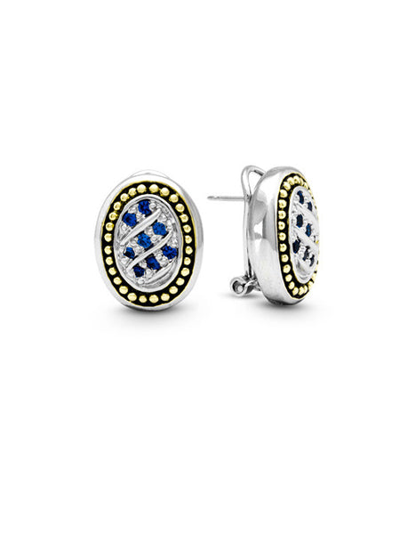 Ocean Images Indigo Edition Oval Pave Post Clip Earrings
