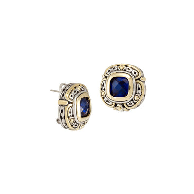 Pedras Collection Indigo CZ Omega Clip Stud Earrings