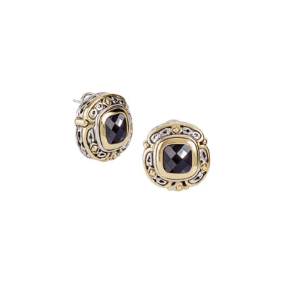 Pedras Collection Black CZ Omega Clip Stud Earrings