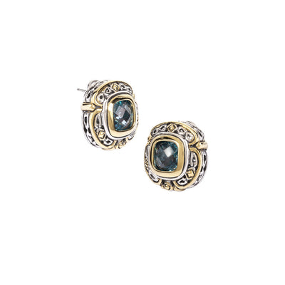 Pedras Collection Aqua CZ Omega Clip Stud Earrings