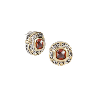 Pedras Collection Garnet CZ Omega Clip Stud Earrings
