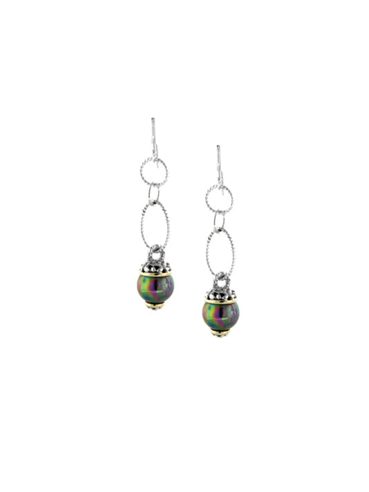 Ocean Images Collection Peacock Pearl Fish Hook Long Drop Earrings