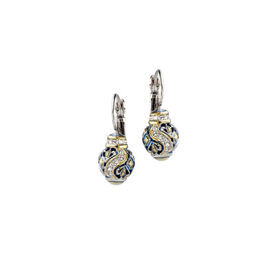 Beaded Indigo Finish Pavé French Wire Earrings - John Medeiros Jewelry Collections