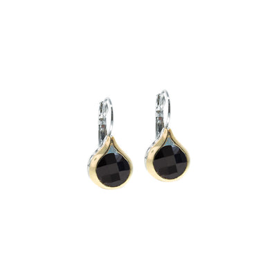 Oval Link Collection Black CZ French Wire Earrings