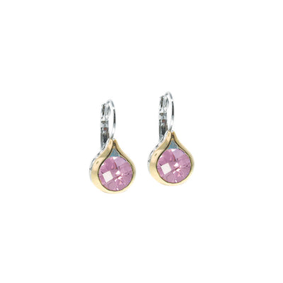 Oval Link Collection Pink CZ French Wire Earrings