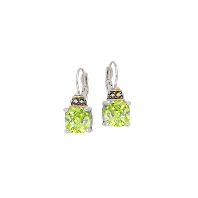 Anvil Collection Square Cut Peridot CZ French Wire Earrings