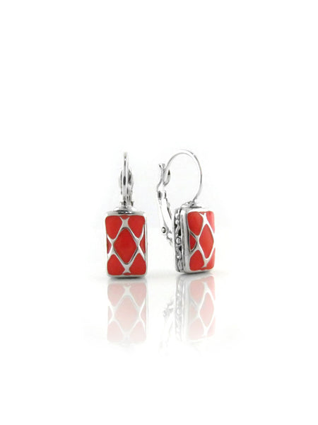 LIMITED Coral Lattice Small Rectangle Earrings