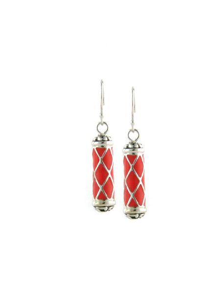 LIMITED Coral Lattice Drop Fish Hook Earrings