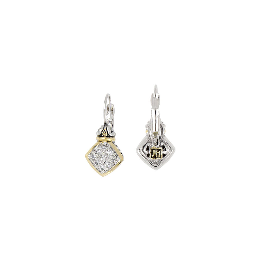 Anvil Square Pavé French Wire Earrings
