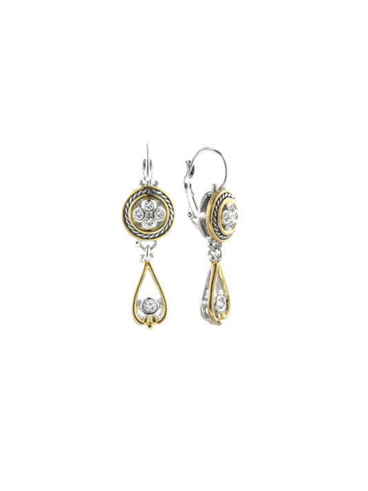 O-Link Collection Large Drop Filgree CZ French Wire Earrings