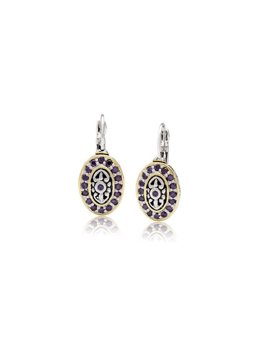 French Wire Filigree Lever Back Oval Amethyst CZ Earrings