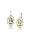 O-Link French Wire Filigree Oval Earrings in CZ.