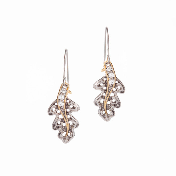 Oak Leaf CZ Earrings