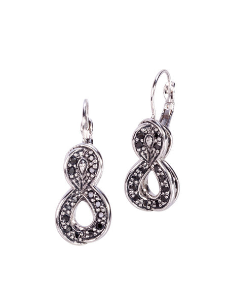 Infinity Collection Black with Pavé French Wire Earrings