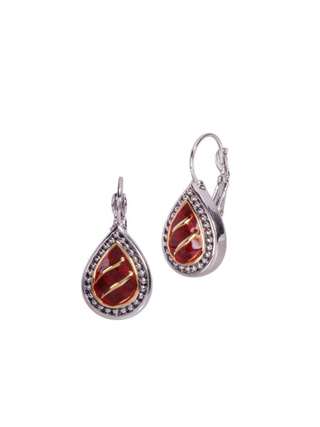 Lattice Collection - Carnelian French Wire Clip Earrings