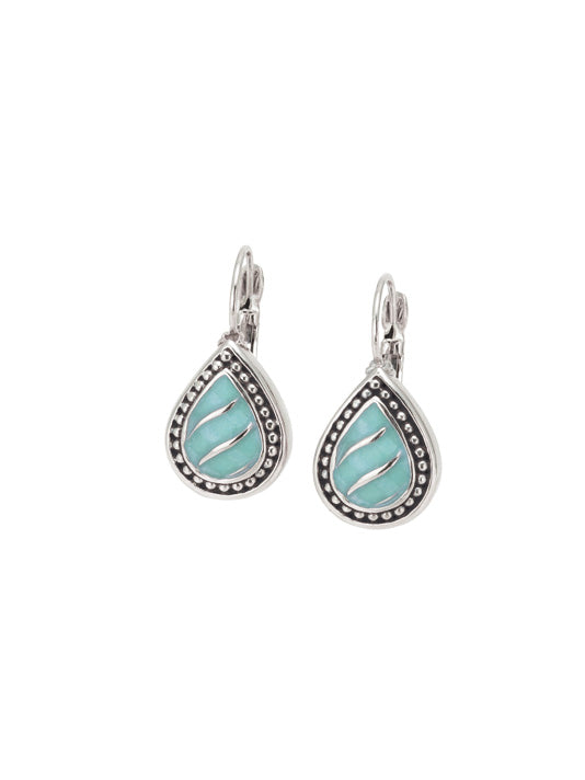 Ocean Images Turquoise Seas Teardrop French Wire Earrings