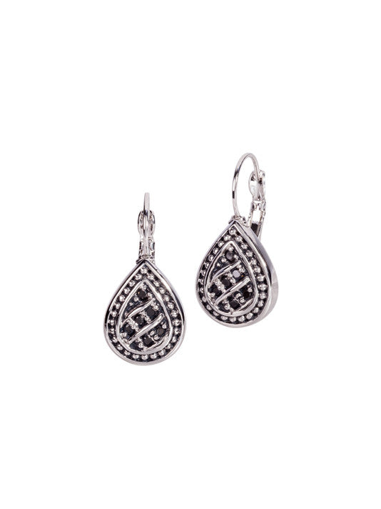 Ocean Images Black Seas Collection Teardrop French Wire Earrings