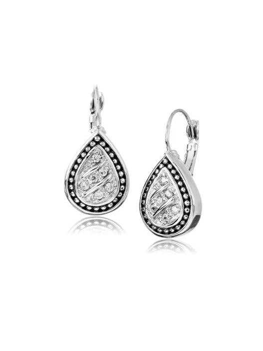 Pav̩ Tear Drop with Clip Earrings by John Medeiros Jewelry Collections.