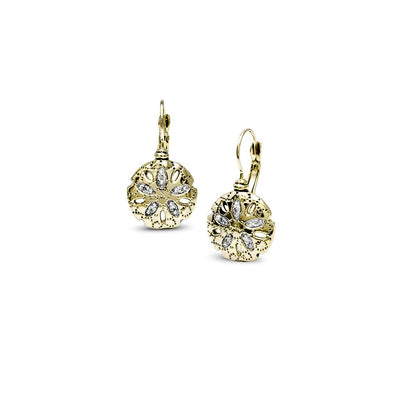 Seaside Sand Dollar CZ French Wire Earrings - John Medeiros Jewelry Collections