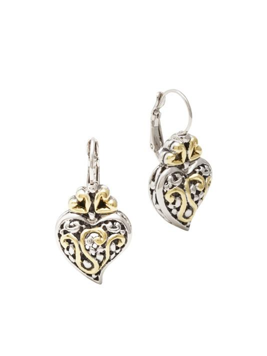 Viana Filigree Heart French Wire Earrings