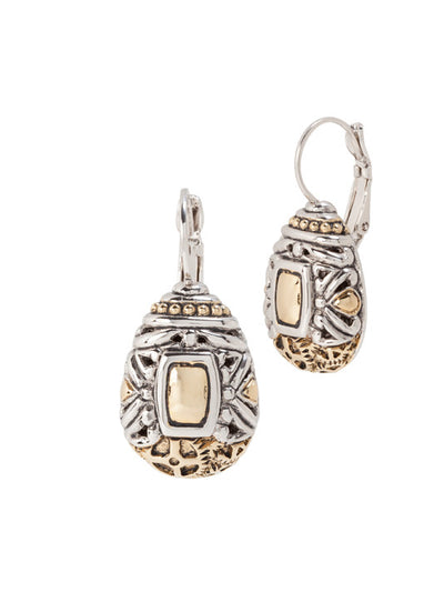 John Medeiros Two Tone Anvil Collection - Gears of Time Edition - Pear Shape French Wire Clip Earrings