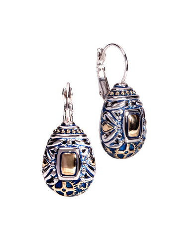John Medeiros Blue Anvil Collection - Gears of Time Edition - Pear Shape French Wire Clip Earrings