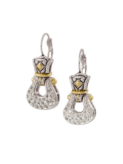 John Medeiros Anvil Pav̩ Horseshoe French Wire Earrings