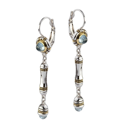 Canias Cor Collection Aqua CZ Dangle Drop Earrings