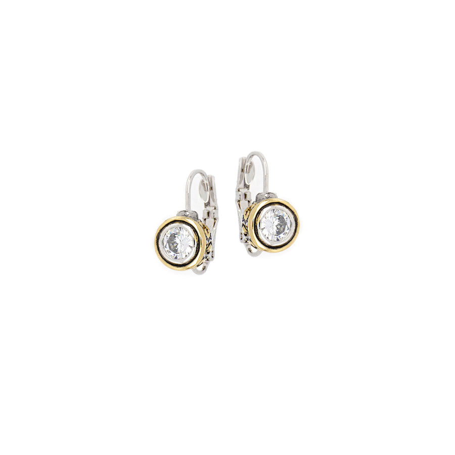 Beijos 6mm Clear CZ Bezel Set Earrings