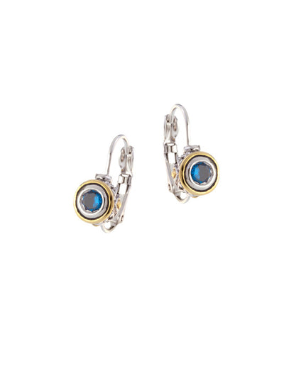 Beijos Collections 5mm Sapphire Blue CZ Bezel Set Earrings