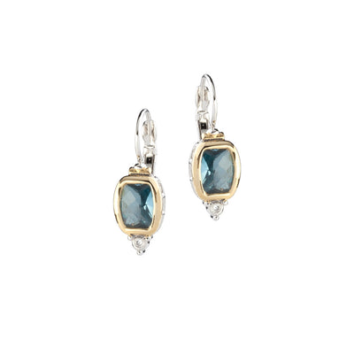 Nouveau Barrel Aqua CZ French Wire Earrings