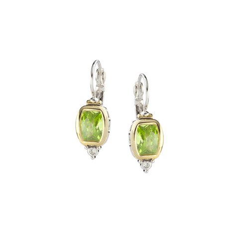 Nouveau Barrel Peridot CZ French Wire Earrings