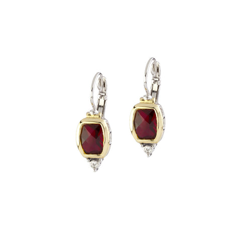 Nouveau Barrel Garnet CZ French Wire Earrings