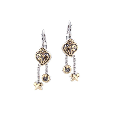 Viana Filigree Heart Earrings with XO Dangles