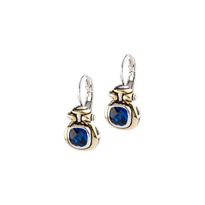 Anvil Color Indigo CZ French Wire Earrings
