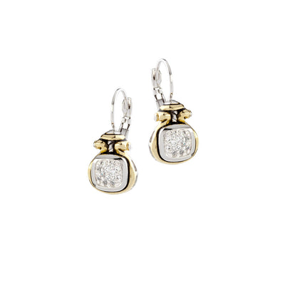 Anvil Pavé Two Tone French Wire Earrings