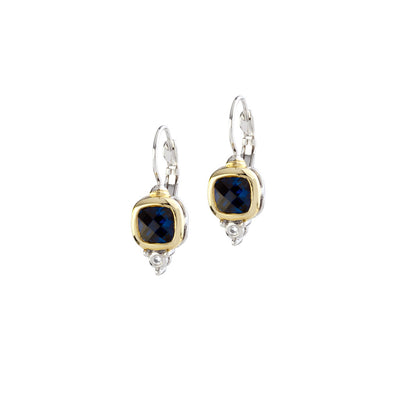 Nouveau Small Square Indigo CZ FW Earrings