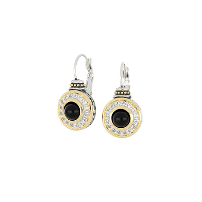 Genuine Black Onyx & Pavé French Wire Earrings
