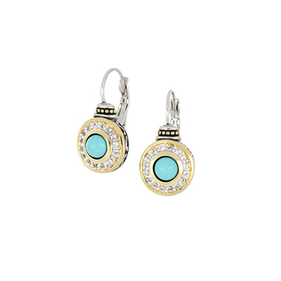 Pérola Pavé & Turquoise French Wire Earrings